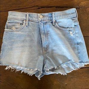 Light Wash MOTHER Denim Cutoff Shorts